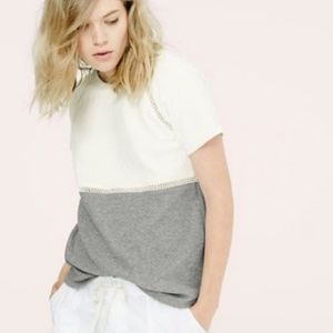 Lou & Grey Quilted Colorblock Lounge Top Gray S